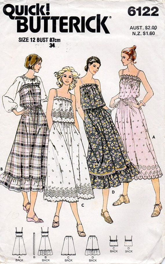 1970s Boho Peasant Summer Dress Skirt & Top by BessieAndMaive, $12.00
