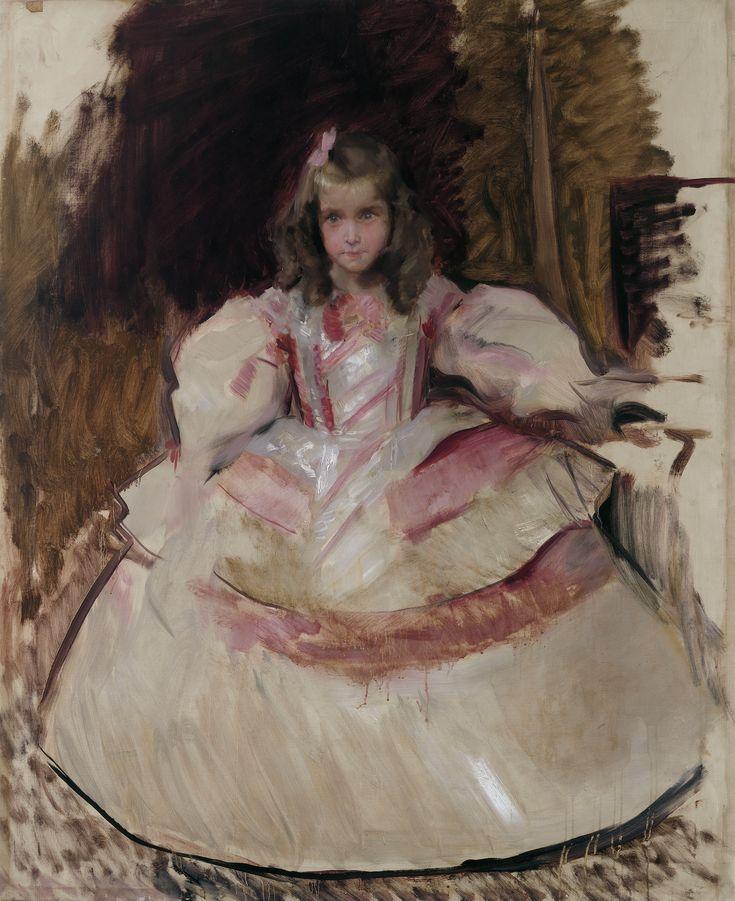 La niña María Figueroa vestida de menina.