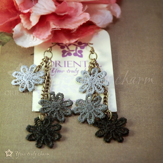 Painted lace earrings Night flowers by Oriental by OrientalColour, $8.00