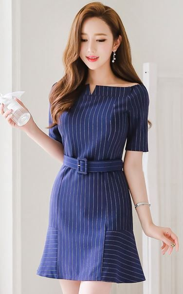 StyleOnMe_Pinstripe Belted Boat Neck A-Line Dress #pinstripe #navy #feminine #dress #spring #summer #koreanfashion