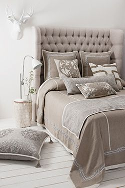 Intricately handcrafted appliqué on pure linen. A palette of natural colours for an elegant and light summer feel. Aztaro Bedspread £1325 | Available from http://www.luxdeco.com/brands/aztaro