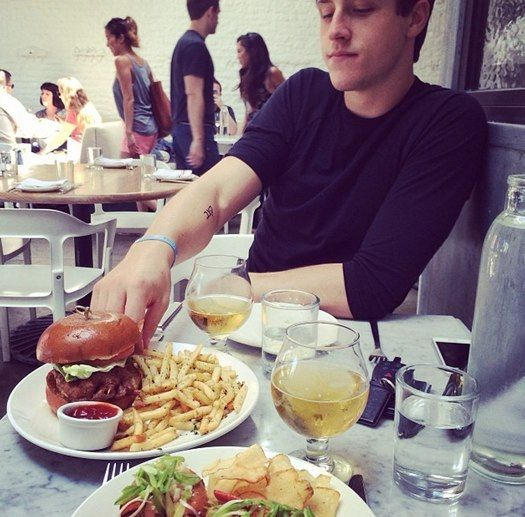 Bridgit Mendler reveals Shane Harper's new tattoo! but who cares!!! thesize of that buger and those fries, mmmmmm