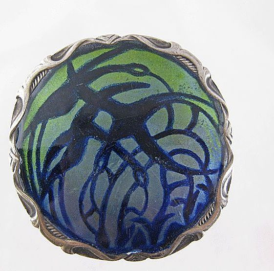 Vintage Art Nouveau J. Tostrup Norway Sterling Enamel Brooch from quick-red-fox on Ruby Lane