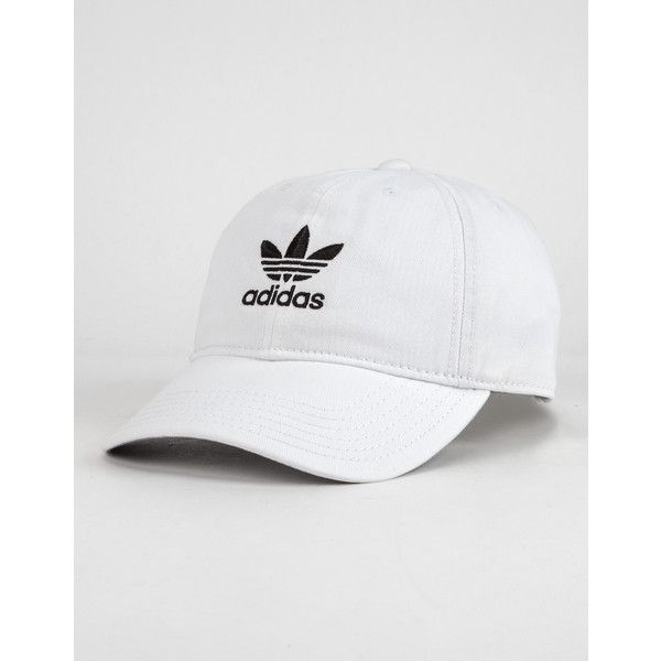 Adidas Originals Relaxed Womens Dad Hat ($24) ❤ liked on Polyvore featuring accessories, hats, adidas, cotton hats, adidas hats, embroidered hats and embroidery hats