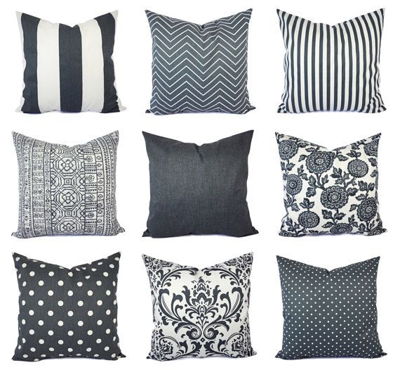OFF SALE Charcoal and White Pillow Cover - Gunmetal Grey Throw Pillow Cover - Dark Grey Lumbar - Decorative Pillow - Grey Pillows - Gray by ...