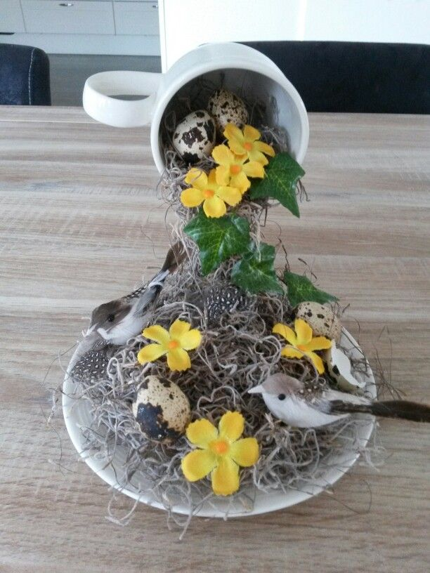 Nest in a floating teacup - so cute for spring!