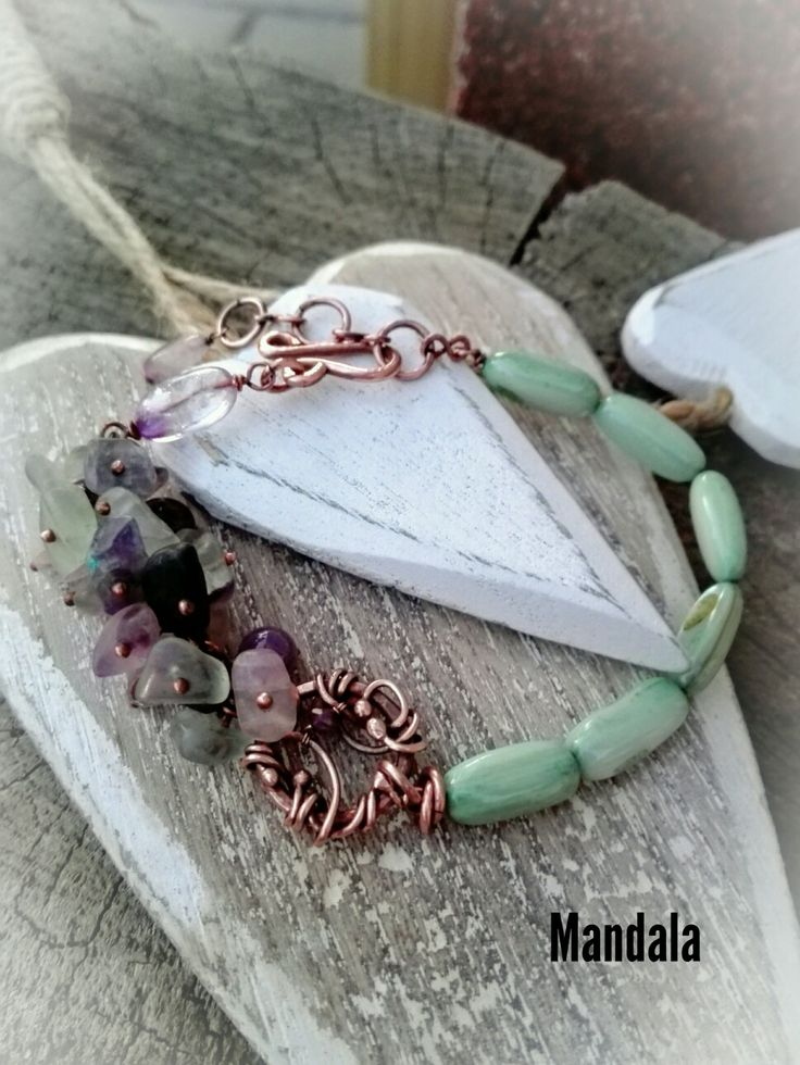 Flourit and shell beads braclet