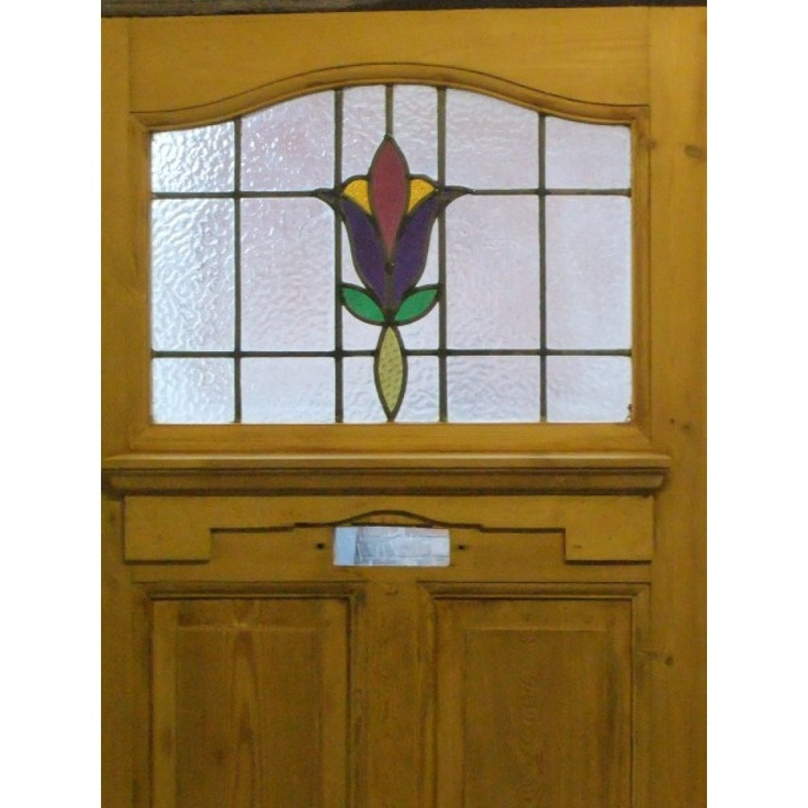 1930 Edwardian Stained Glass Exterior Door - Purple Tulip
