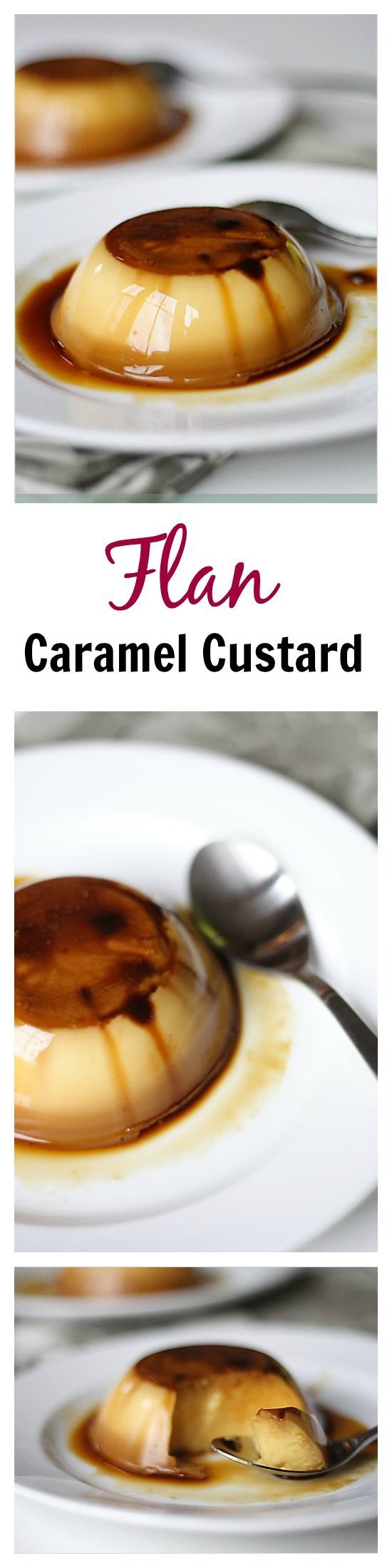 Flan (Crème Caramel) - Flan or caramel custard recipe. Easy, sweet, silky smooth egg custard with caramel sauce. SO YUMMY | rasamalaysia.com