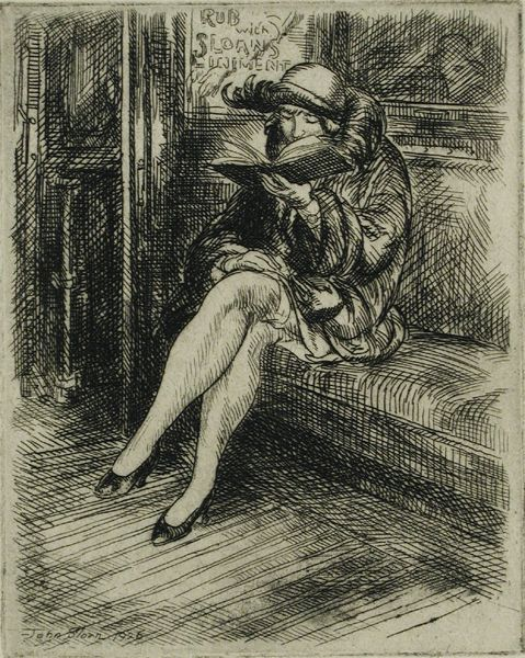 Reading on the Subway, 1926 - John French Sloan (American 1871-1951) [Ashcan School, The Eight]
