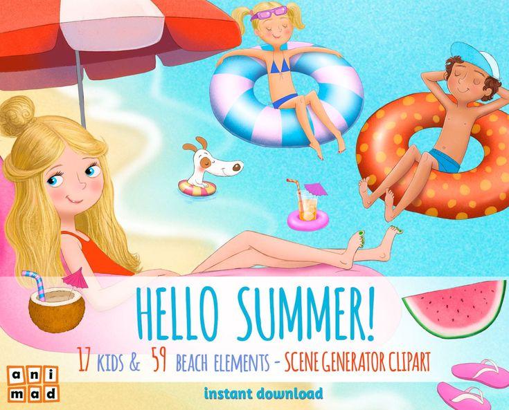 Hello summer kids clipart instant download clip art summer