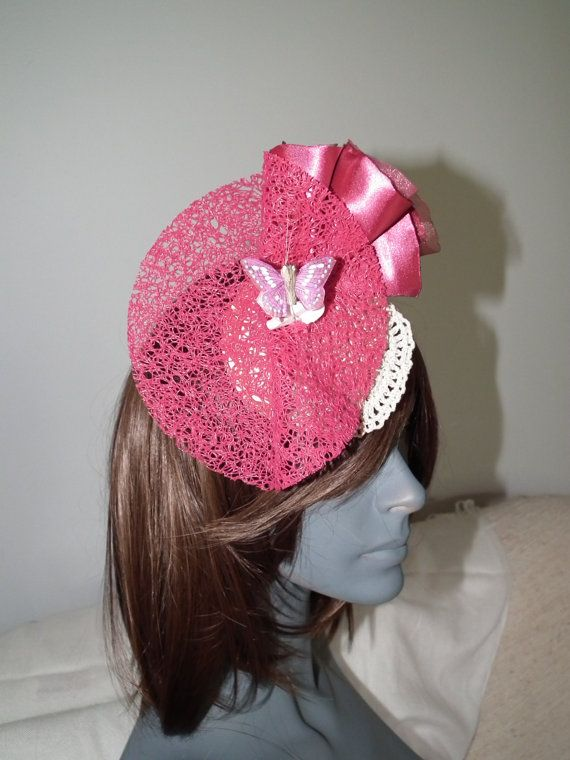 'Chic La La' SUPER SALE NOW ON THIS HEADPIECE $40 ---  Vibrant Hot Pink Cream at Watt Millinery Bling spaghetti matting textured butterfly lace crotchet satin curls hairslide fascinator millinery milliner spring racing raceday wedding guest hat