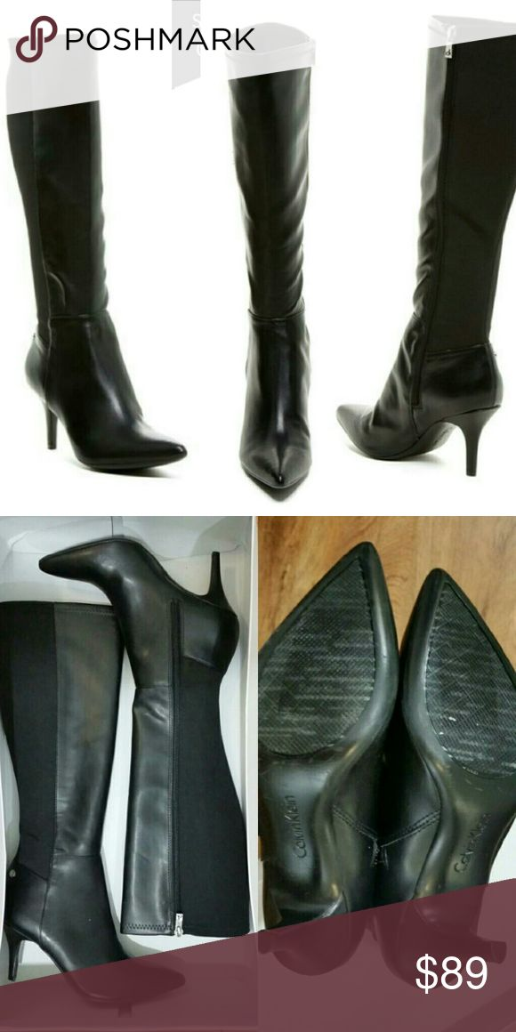 """NEW CALVIN KLEIN TALL BOOTS SZ 6 Just in time for mini skirt and knee high boots season!!!! These go with every mini skirt - sexy and elegant! A word of caution: your calves should be pretty small because the shafts are form fitting.   - Contrasting elastic and leather construction - Pull-on with side zip - Approx. 16.5"""" shaft height, 14.25"""" opening circumference - Approx. 3.25"""" heel             Tags: ck, steve madden, jessica Simpson, nine west, ted baker, via spiga, Vince Camuto, guess…"""