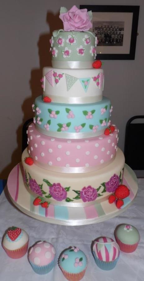 5 Tier Cath Kidston style wedding cake