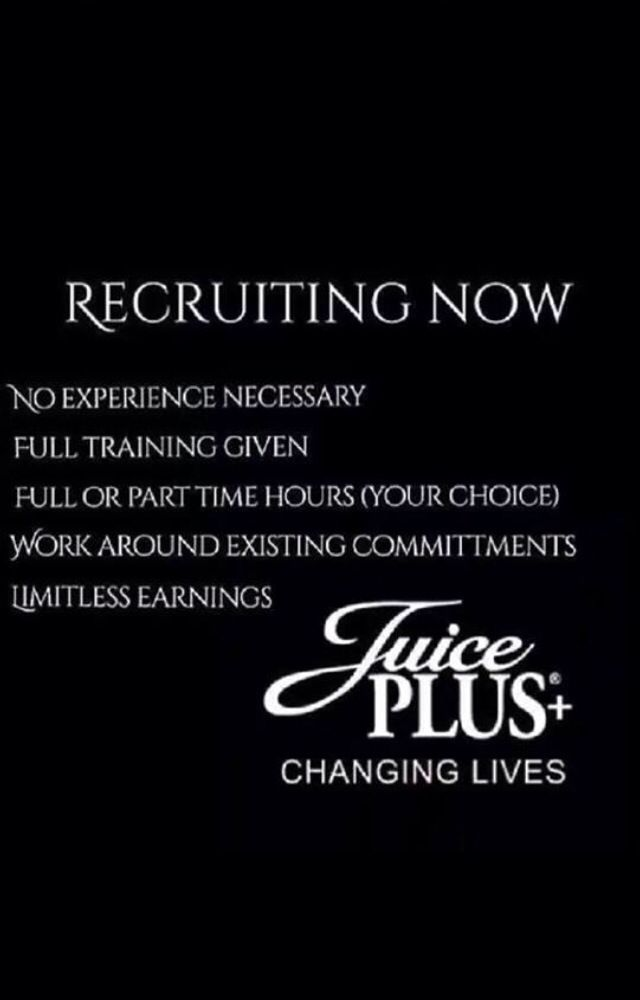 Recruiting now for new Juice Plus distributors-join my team today! Contact me on 2103557509 or at www.ericacantu.juiceplus.com