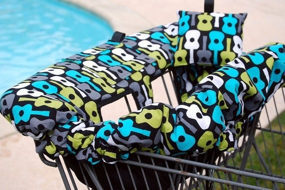 Shopping Cart Cover -  Boutique shopping Cart Cover for Boy or Girl -  Lagoon Groovy Guitar on Etsy, $70.00