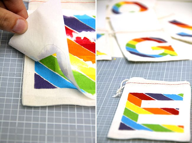 Monogrammed rainbow party favor bags