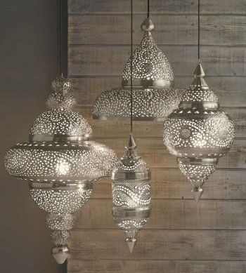 Cool lighting. Bright enough for kitchen? http://walkerzangerblog.com/wp-content/uploads/2012/04/Arbesque-lanterns.jpg