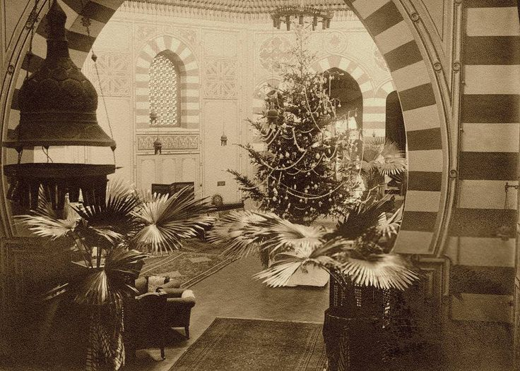 The Christmas Tree in The Hall of The Old Shepheard's Hotel. Photo by Ullstein Bild, Cairo, Egypt, 1910.