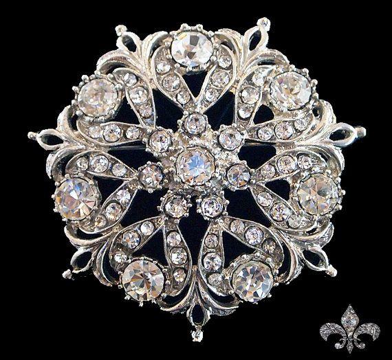 Rhinestone Brooch Pin  Rhinestone Crystal Brooch  by SupplyWorld, $7.95