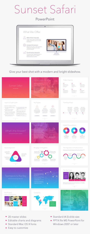 Sunset Safari PowerPoint Template #design #slides #presentation Download…