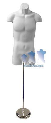 """Male 3/4, White and Tall adjustable Mannequin Stand with 8"""" Round Base"""