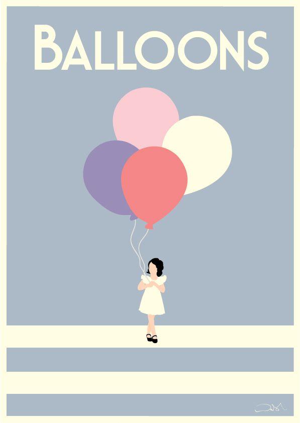 #balloons #childrensposters #childrensart #vintageposters #customprint #interiordesign #illustration #decorating #art #cute #pretty #poster #alanwalsh #alanwalshart