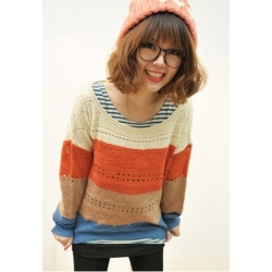 Fashion Color Block Open Work Pattern Scoop Neck Sweater