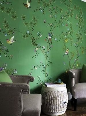 Green home decorating - myLusciousLife.com - diversionproject_green chinoiserie wallpaper.jpg  I love the colour Linda.