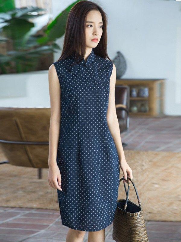 Navy Dots Casual Midi Qipao / Cheongsam Dress