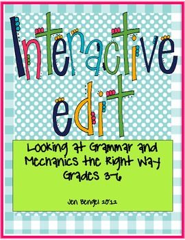 """Teach students to look at examples of excellent sentences and ask themselves, """"what works well?"""" Instead of looking at poorly written sentences and fixing them.  Let's show our students what great sentences look like!  In this resource, there is a list of 20 well written sentences along with a printable response sheet for each sentence.  That's one month worth of interactive edits!"""