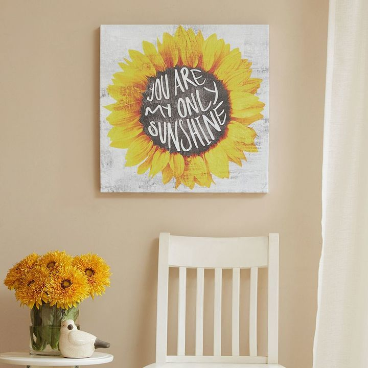 """Mi Zone """"You Are Only My Sunshine"""" Sunflower Canvas Wall Art"""