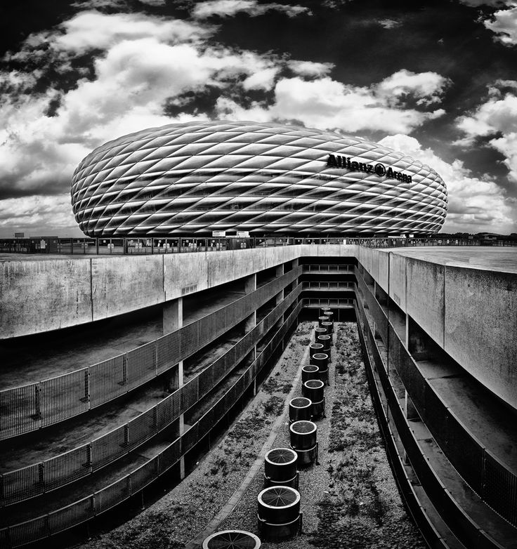 Allianz Arena in Munich with its' unique architecture by the Swiss architect firm of Herzog & de Meuron