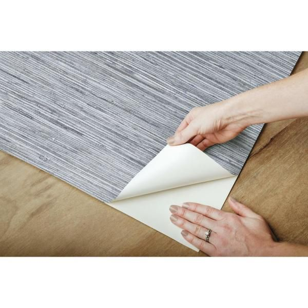 Roommates Grasscloth Blue Grey Vinyl Peelable Roll Covers 28 18 Sq Ft Rmk11561wp The Home Depot Peel And Stick Wallpaper Grasscloth Wallpaper Roll
