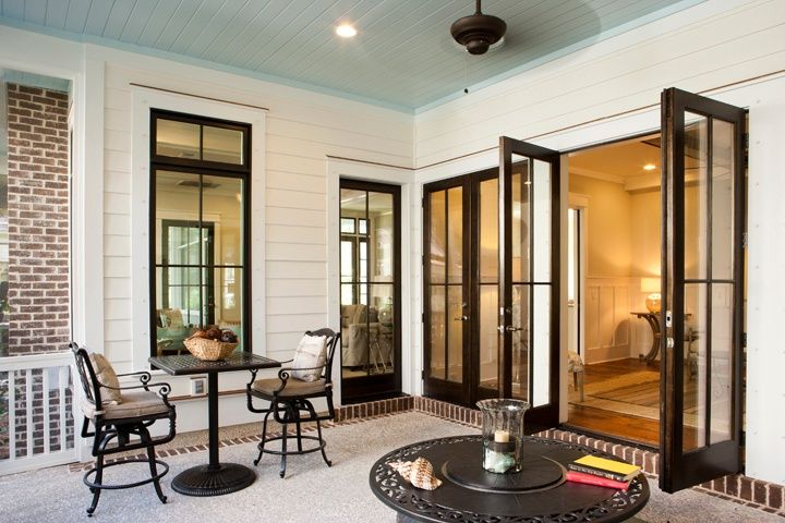 Traditional Porch with Andersen Windows & Doors 400 Series Frenchwood Hinged Patio Door, French doors, exterior brick floors