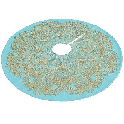 Light Turquoise Blue Green Mandala Star Pattern Fleece Tree Skirt - elegant gifts gift ideas custom presents