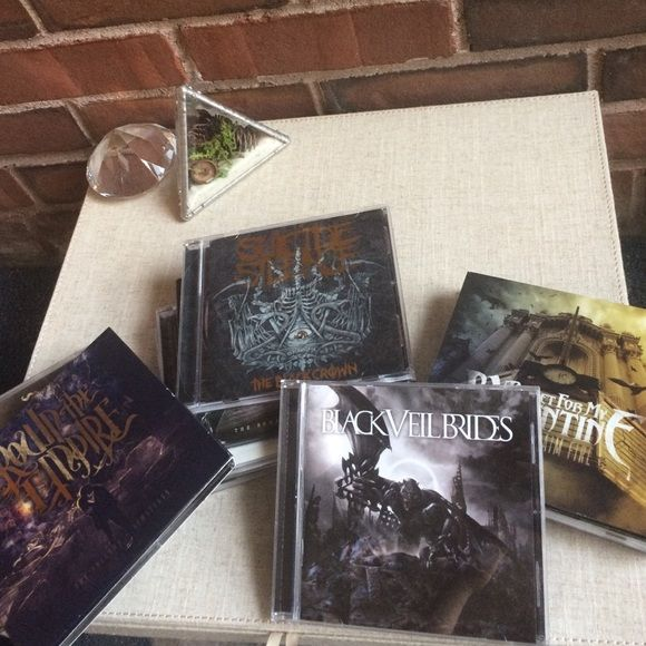 GIANT CD Bundle  Buy all for set price or $4 for single-CDs or $6 for ones with 2 CDs. 1) BVB 2) BFMV Scream Aim Fire 3) Crown The Empire Fallout + Limitless 2-CD 4) Miss May I Rise of the Lion 5) Slipknot .5: Gray Chapter 2-CD 6) Suicide Silence Cleansing 2-CD 7) Whitechapel Somatic Defilement 8) Suicide Silence Black Crown 9) Slipknot 9.0: Live 2-CD 10) Esoteric Subverter 11) Escape The Fate There's No Sympathy For The Dead. Labeled Hot Topic for views Hot Topic Other