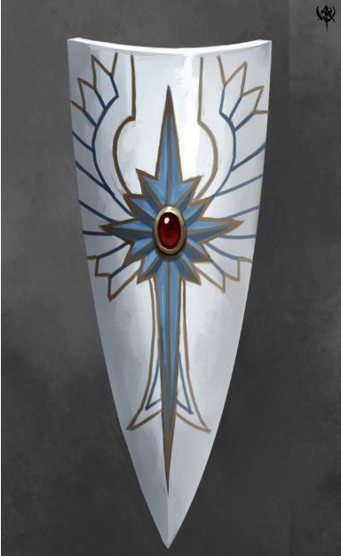 Shields were also used by the Elves and highly decorated in Elf-fashion, like their armour. Not much is described regarding shields, only that they were elaborate and protected the user well. Like most shields, they could be used as a weapon as well as a barrier. Unlike the shields used by Dwarves and Men, which were short and round, the Elven shields extended from neck to shin and thus offered premium protection from weapons that could be swung and thrown/fired.