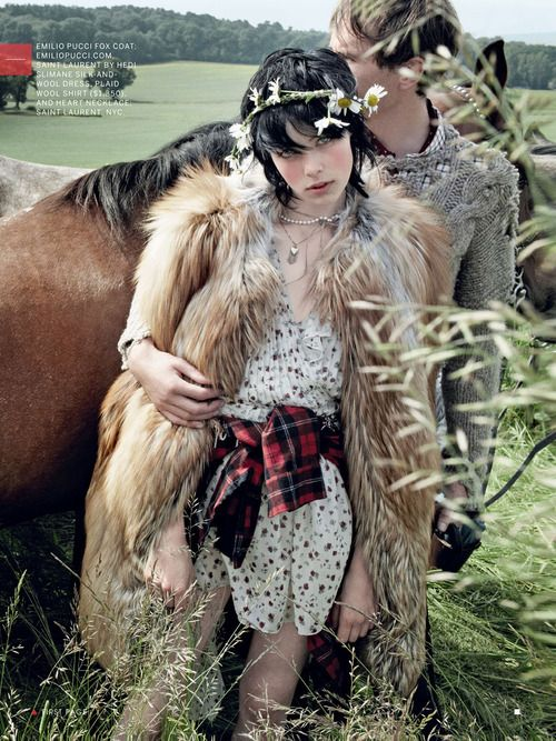 Edie Campbell and Otis Ferry by Mario Testino for Vogue US September 2013