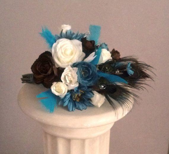 Blue Brown Wedding Bouquets : Kind of like these maybe with more cobalt blue peacock
