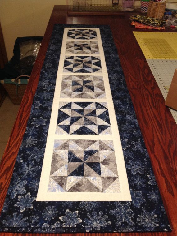 Table Runner, Extra Long Table Runner for Large Tables, Pinwheel Star Pattern, Any Colors Any Theme, Made to Order