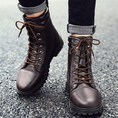 Lace Up Dual-buckle Combat Boots