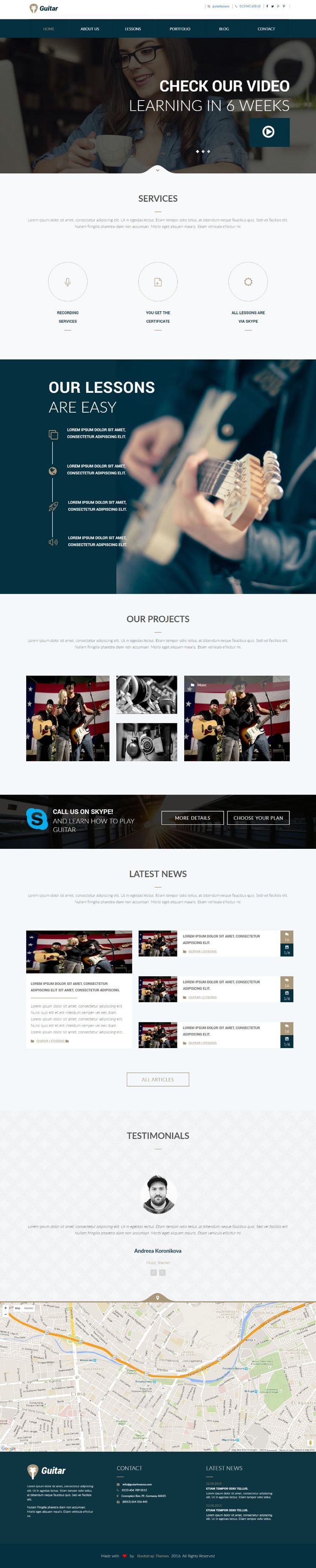 We have created Free Html Guitar School Website. You can download the HTML for your next guitar school website design ! #Free #html #website #template #school #responsive #css #css3 #html5 #guitar