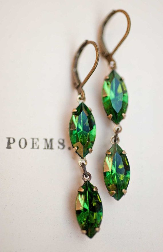 Emerald Green Earrings - Swarovski Crystal Vintage Earrings - Spring Earrings - Green Mossy Isle via Etsy