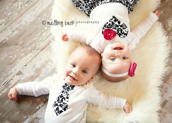 Twins Baby Onesie Set 2 matching Onesies by ChelseaRoseBaby, $38.00