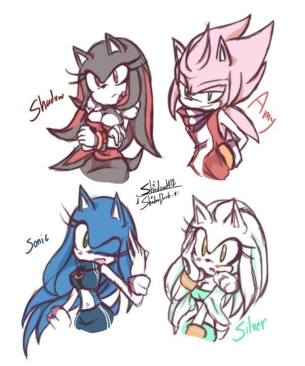 Amy, Sonic, Shadow and Silver gender bender >^<