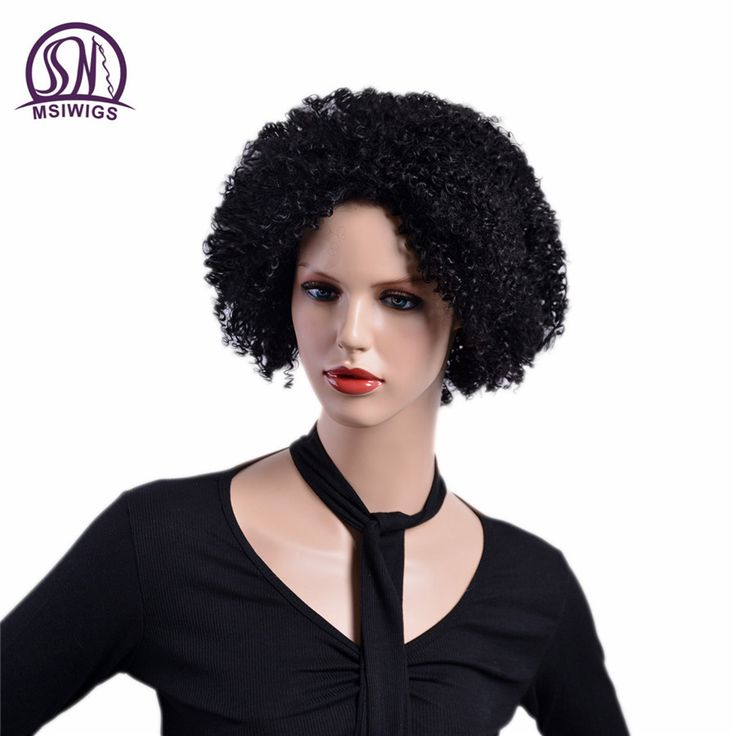 """MSIWIGS 8"""" Short Curly Ombre Wigs for Black Women High Temperature Fiber Natural Black Brown Color Synthetic Afro Wigs  #Affiliate"""