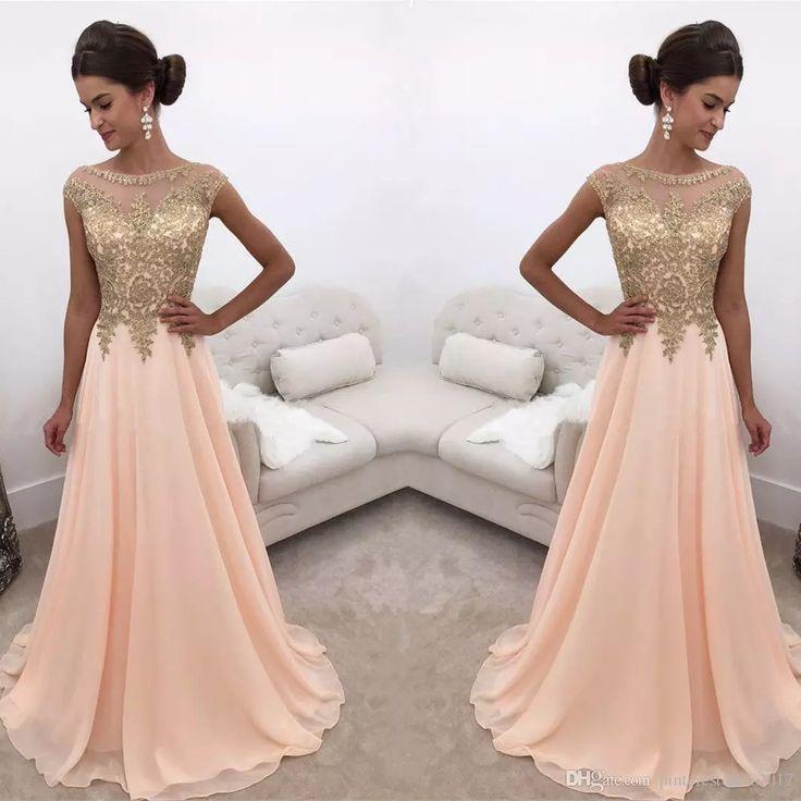 Robe Demoiselle D'Honneur Long Peach Color Bridesmaid Dresses With Gold Lace Formal Dress Vestido De Festa Ivory Bridesmaid Dresses Light Pink Bridesmaid Dresses From Pinterestdress2017, $103.52| Dhgate.Com