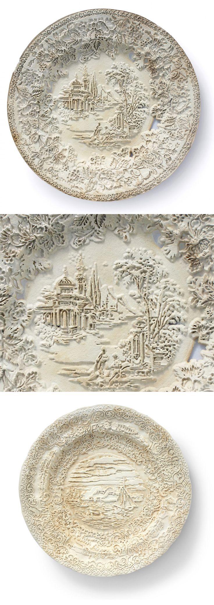 Repurposed Antique Dishware Sandblasted Into Bas-Relief Sculptures by Caroline Slotte