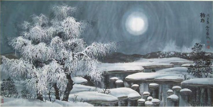 #chinesepaintingmoonlight #chinesepaintingsnowingnight #traditionalchineseartwork